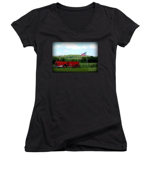 Women's V-Neck T-Shirt (Junior Cut) featuring the photograph A Tribute To The Fireman by Kathy  White