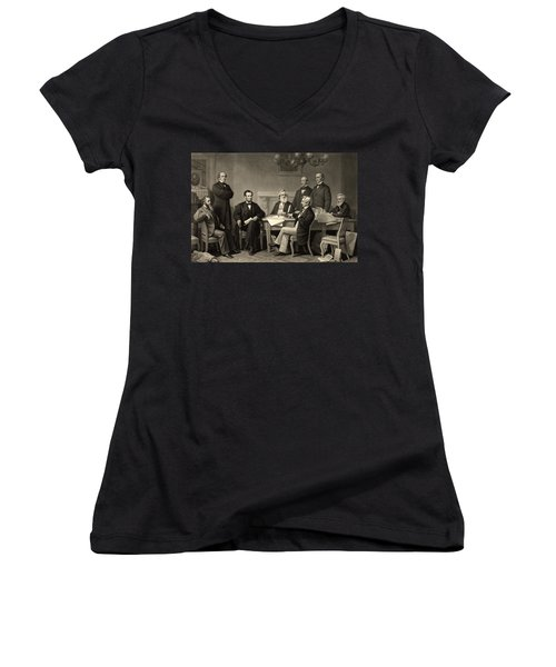 Women's V-Neck T-Shirt (Junior Cut) featuring the photograph Abraham Lincoln At The First Reading Of The Emancipation Proclamation - July 22 1862 by International  Images