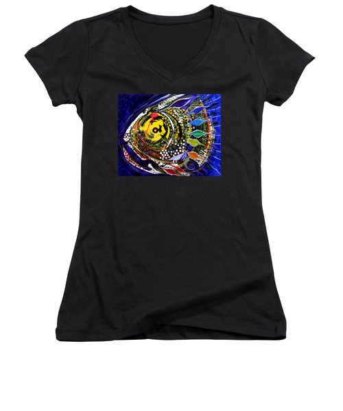 Abstract Busy Bee Fish Women's V-Neck