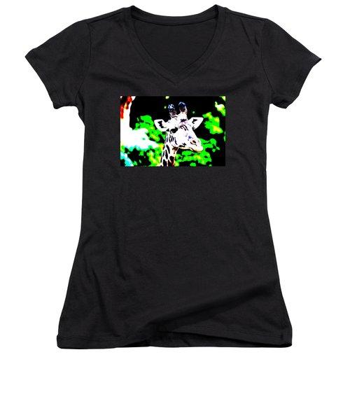 Abstract Giraffe Women's V-Neck T-Shirt