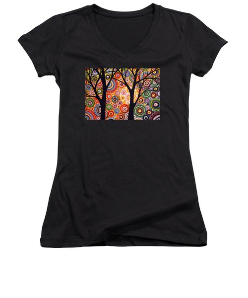 Women's V-Neck T-Shirt (Junior Cut) featuring the painting Abstract Modern Tree Landscape Distant Worlds By Amy Giacomelli by Amy Giacomelli