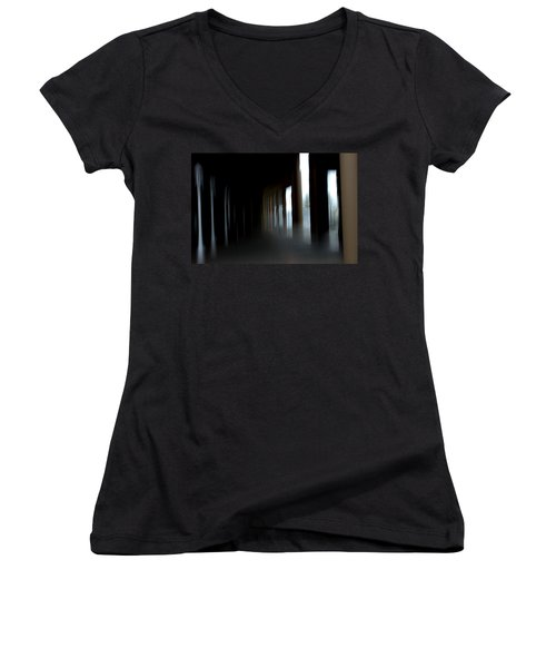 Women's V-Neck T-Shirt (Junior Cut) featuring the mixed media Abyss by Terence Morrissey