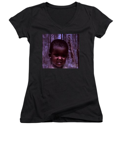 Women's V-Neck T-Shirt (Junior Cut) featuring the pyrography African Little Girl by Lydia Holly