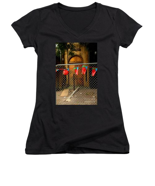 Women's V-Neck T-Shirt (Junior Cut) featuring the photograph After The Quakes - No Go Zone by Nareeta Martin