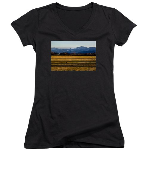 Afternoon Shadows Across A Rogue Valley Farm Women's V-Neck T-Shirt (Junior Cut) by Mick Anderson