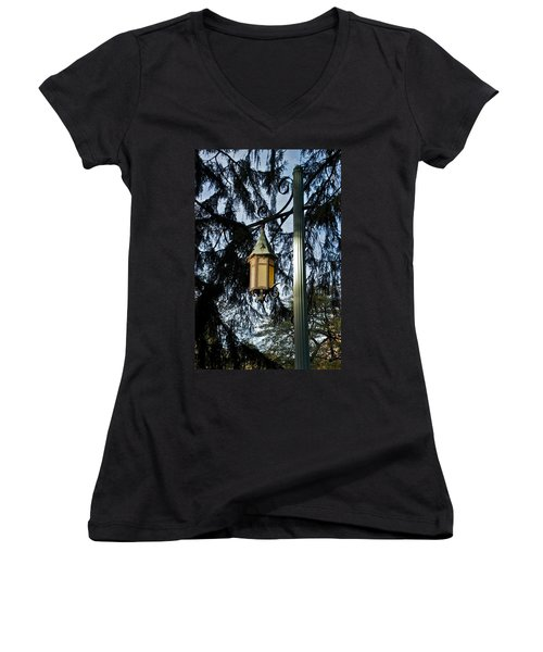 Women's V-Neck T-Shirt (Junior Cut) featuring the photograph Akers Night by Joseph Yarbrough