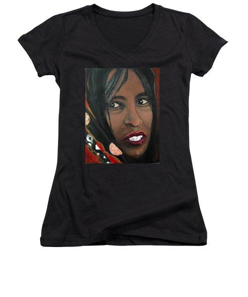 Women's V-Neck T-Shirt (Junior Cut) featuring the painting Alem E. W. by Anna Ruzsan