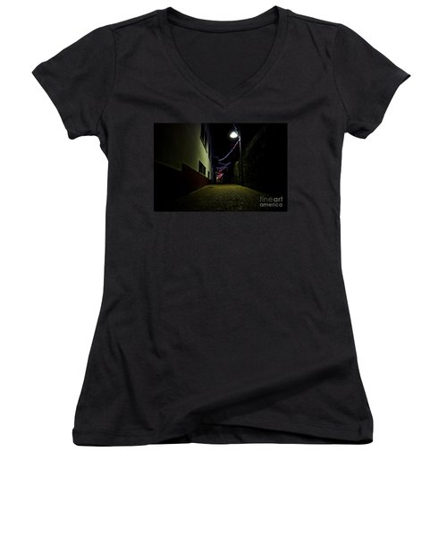 Alley With Lights Women's V-Neck