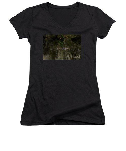 Women's V-Neck T-Shirt (Junior Cut) featuring the photograph Alligator In Swamp by Dan Friend