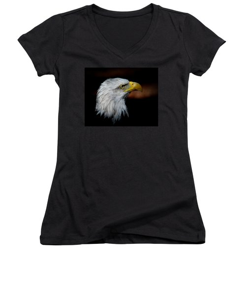 American Bald Eagle Women's V-Neck T-Shirt (Junior Cut) by Steve McKinzie
