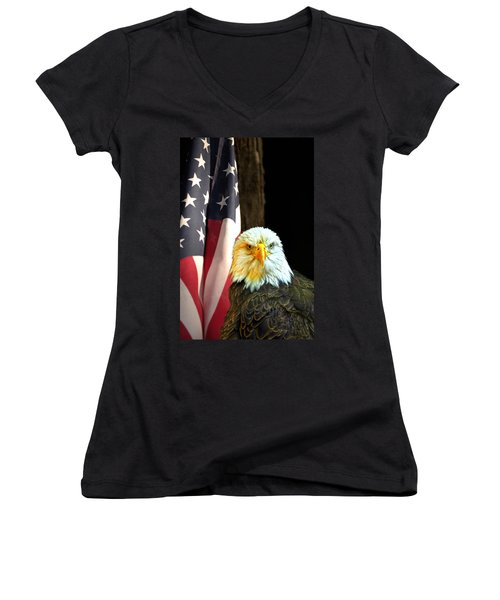 Women's V-Neck T-Shirt (Junior Cut) featuring the photograph American Eagle And American Flag by Randall Branham
