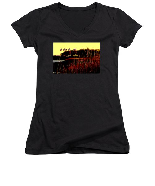 American Flags2 Women's V-Neck T-Shirt
