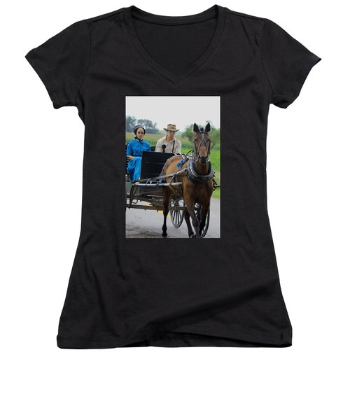 Amish Buggy Ride Women's V-Neck T-Shirt