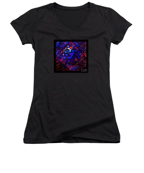 Women's V-Neck T-Shirt (Junior Cut) featuring the photograph Ancient Family In Cosmos by Susanne Still