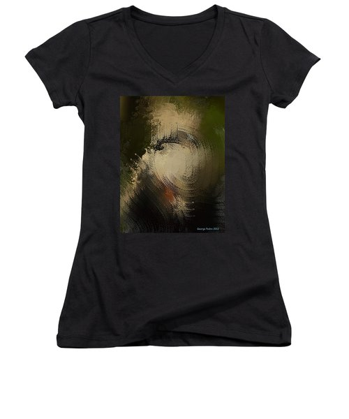Women's V-Neck T-Shirt (Junior Cut) featuring the painting Angry Monkey by George Pedro