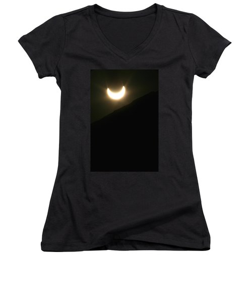 Women's V-Neck T-Shirt (Junior Cut) featuring the photograph Annular Solar Eclipse At Sunset Number 1 by Lon Casler Bixby