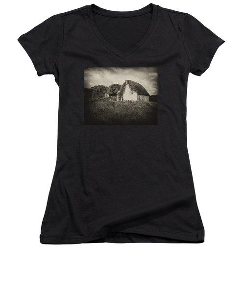 Women's V-Neck T-Shirt (Junior Cut) featuring the photograph Aran Island Home by Hugh Smith