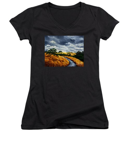 Arastradero Trail In Early Autumn Women's V-Neck (Athletic Fit)