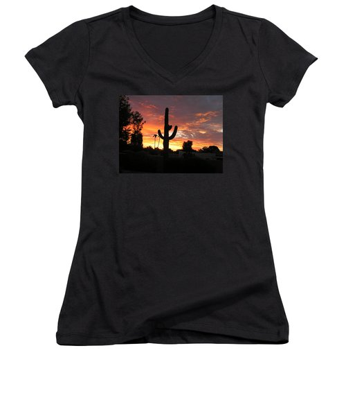 Arizona Sunrise 03 Women's V-Neck T-Shirt (Junior Cut) by Rand Swift