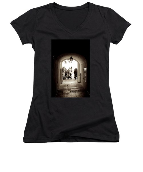 At The End Of The Tunnel Women's V-Neck T-Shirt