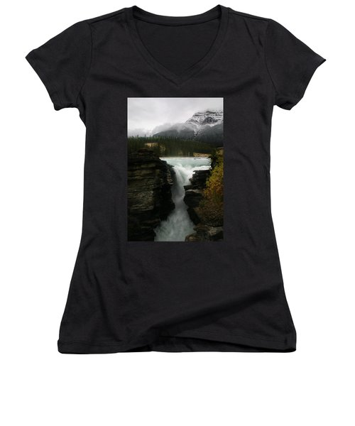 Athabasca Falls Jasper National Park Women's V-Neck (Athletic Fit)