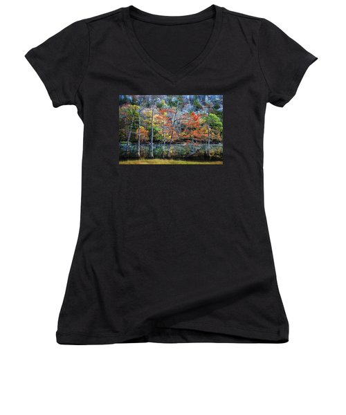 Women's V-Neck T-Shirt (Junior Cut) featuring the photograph Autumn At Beaver's Bend by Tamyra Ayles