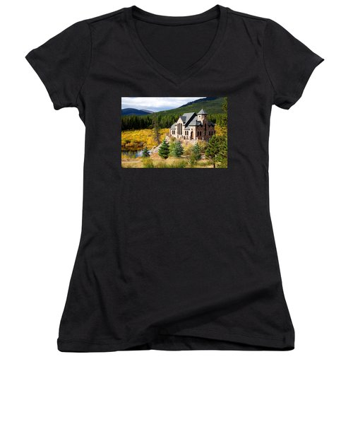 Women's V-Neck T-Shirt (Junior Cut) featuring the photograph Autumn At St. Malo  by Jim Garrison