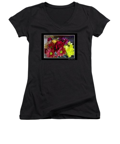 Women's V-Neck T-Shirt (Junior Cut) featuring the digital art Autumn Boquet by Debbie Portwood