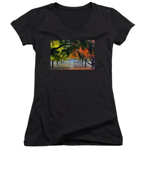 Autumn Canopy Women's V-Neck T-Shirt (Junior Cut) by Lisa Phillips