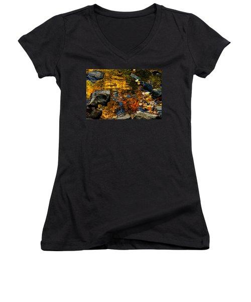 Women's V-Neck T-Shirt (Junior Cut) featuring the photograph Autumn Reflections by Cheryl Baxter
