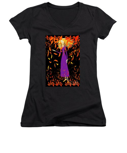 Women's V-Neck T-Shirt (Junior Cut) featuring the digital art Autumn Spirit by Barbara Moignard