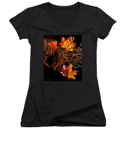 Women's V-Neck T-Shirt (Junior Cut) featuring the photograph Autumnal Feelings by Beverly Cash