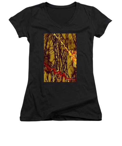 Women's V-Neck T-Shirt (Junior Cut) featuring the digital art Shapes Of Fire by Leo Symon