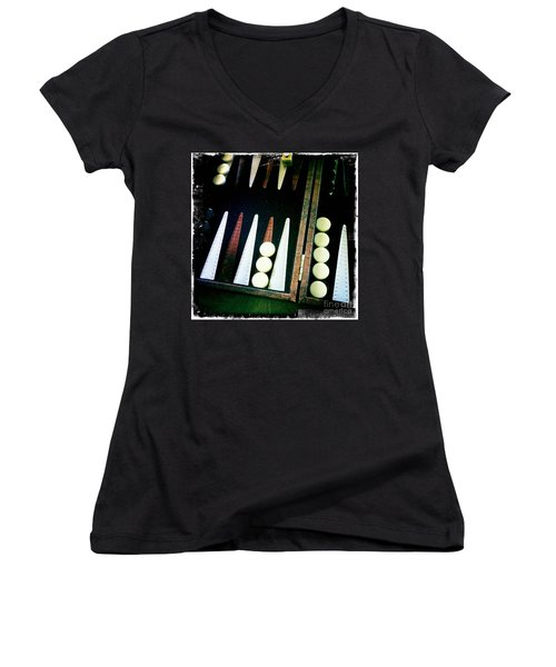 Women's V-Neck T-Shirt (Junior Cut) featuring the photograph Backgammon Anyone by Nina Prommer
