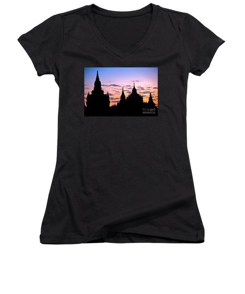 Women's V-Neck T-Shirt (Junior Cut) featuring the photograph Bagan by Luciano Mortula