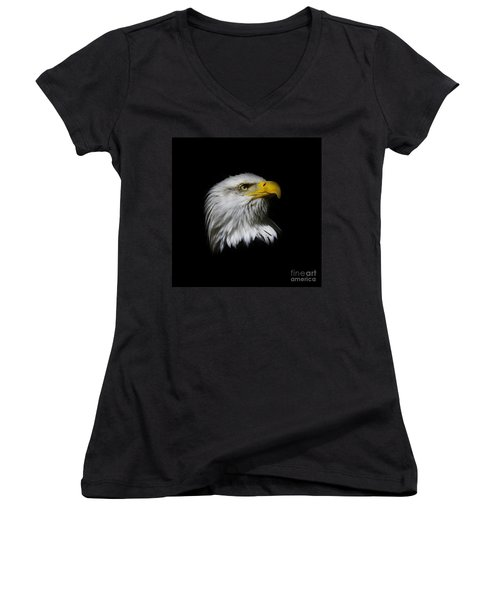 Bald Eagle Women's V-Neck T-Shirt (Junior Cut) by Steve McKinzie