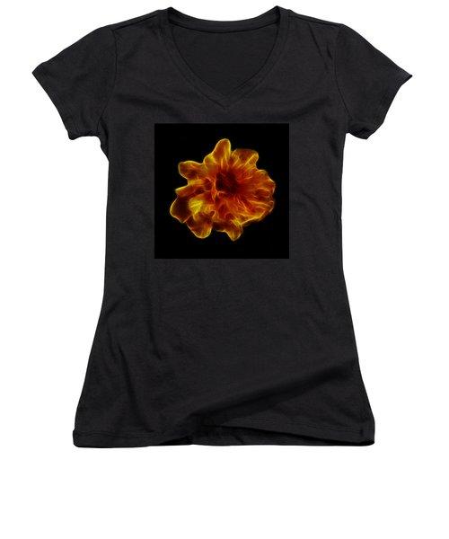 Women's V-Neck T-Shirt (Junior Cut) featuring the photograph Ball Of Fire by Lynn Bolt
