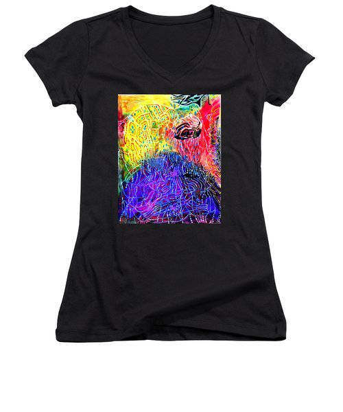 Women's V-Neck T-Shirt (Junior Cut) featuring the painting Baptism Of The Lord Jesus by Gloria Ssali
