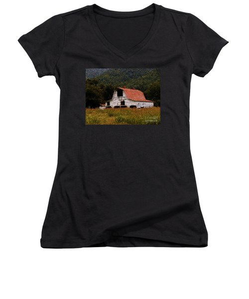 Women's V-Neck T-Shirt (Junior Cut) featuring the photograph Barn In Mountains by Lydia Holly