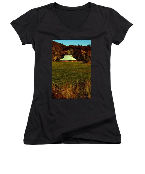 Barn In The Style Of The 60s Women's V-Neck T-Shirt (Junior Cut) by Mick Anderson