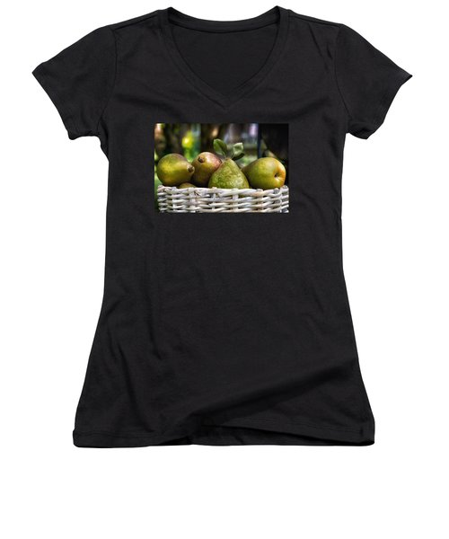 Basket Of Pears Women's V-Neck (Athletic Fit)