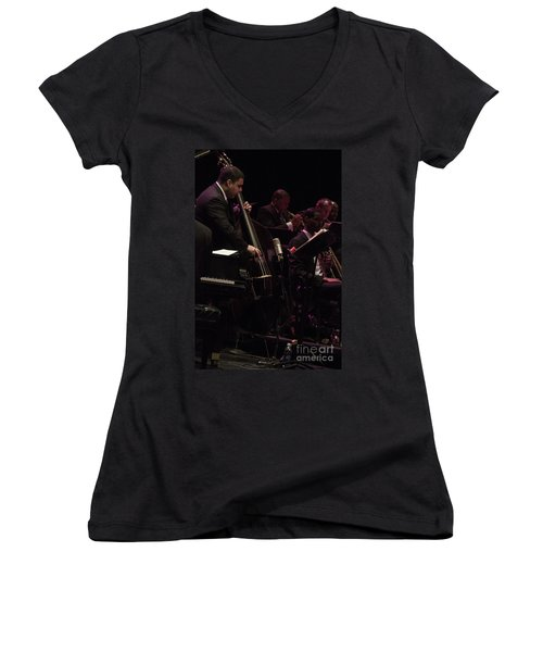 Bass Player Jams Jazz Women's V-Neck (Athletic Fit)
