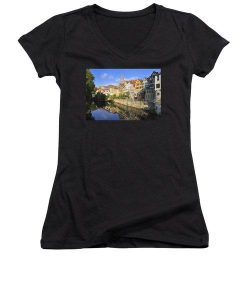 Beautiful German Town Tuebingen - Neckar Waterfront Women's V-Neck (Athletic Fit)