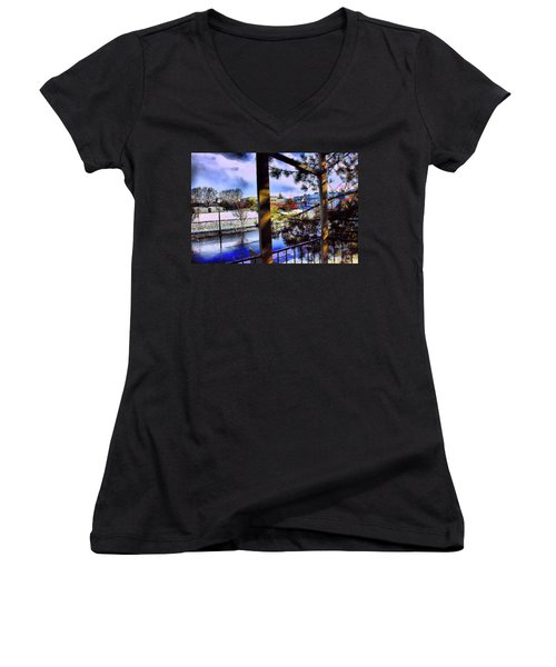 Women's V-Neck T-Shirt (Junior Cut) featuring the mixed media Beaverton  H.s. Winter 2011 by Terence Morrissey