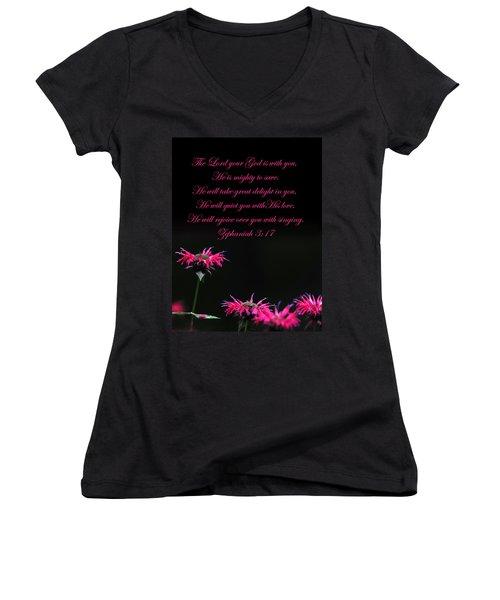 Women's V-Neck T-Shirt (Junior Cut) featuring the photograph Bee Balm And Bible Verse by Randall Branham