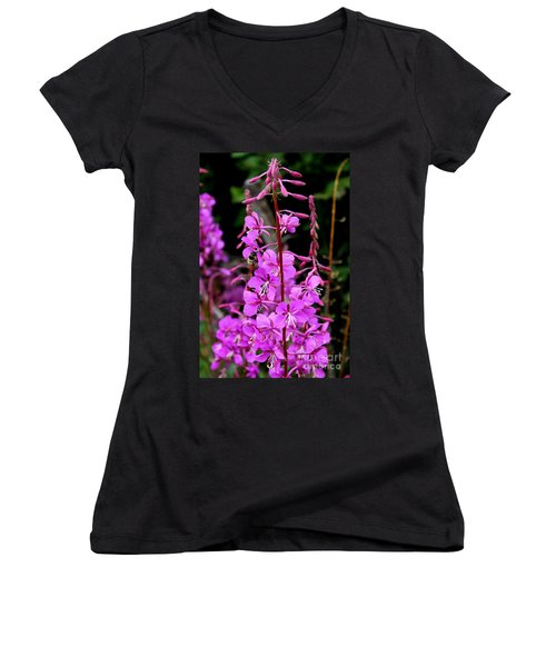 Women's V-Neck T-Shirt (Junior Cut) featuring the photograph Bee On Fireweed In Alaska by Kathy  White