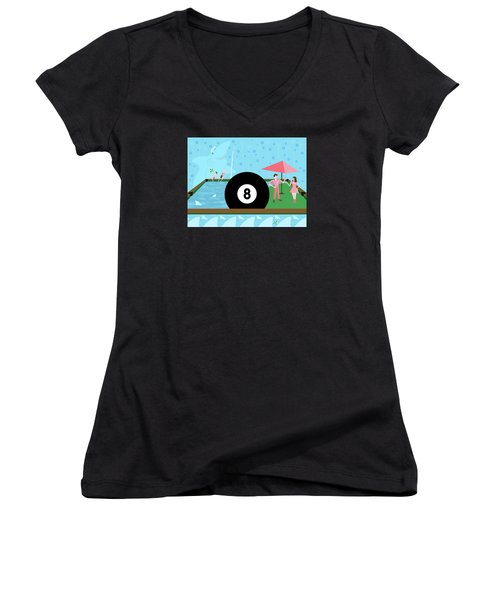 Behind The Eight Ball Women's V-Neck (Athletic Fit)