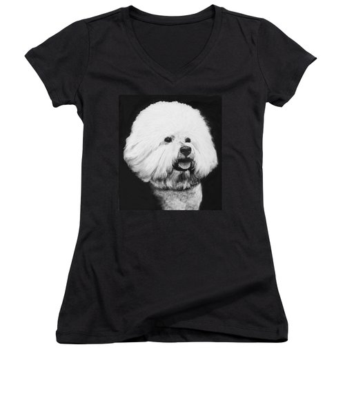 Women's V-Neck T-Shirt (Junior Cut) featuring the drawing Bichon Frise by Rachel Hames