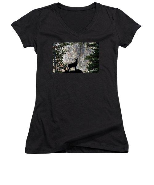 Women's V-Neck T-Shirt (Junior Cut) featuring the photograph Big Horn Sheep Silhouette by Dan Friend