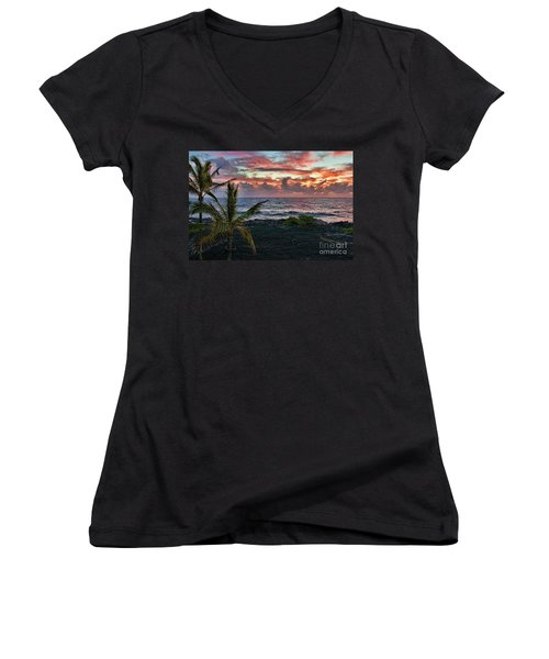 Big Island Sunrise Women's V-Neck (Athletic Fit)